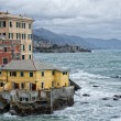 Постер, плакат: Sea Storm on Genova pictoresque boccadasse village
