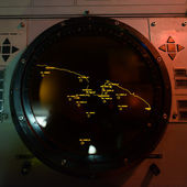 Pantalla de radar del panel de control submarino — Foto de Stock