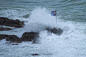 Sea Storm on Genova pictoresque boccadasse village — Stock Photo