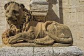 San quirico church lion — Stock Photo