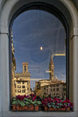Florence Piazza della Signoria reflection in a window — Stock Photo