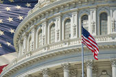 Washington DC Capitol detail with american flag — Stock Photo