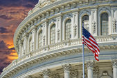 Washington DC Capitol detail on golden sunset background — Stock fotografie