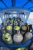 Tank on scuba diving boat — Stock Photo