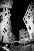 Night view of venice in black and white — Stock Photo