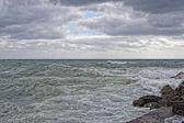 Sea Storm tempest on the rocks — Stock Photo