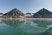 špicberky špicberky pohled na ledovec s malými ledovce — Stock fotografie