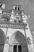 Notre dame paris cathedral external view in black and white — Stock Photo