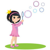 Girl with soap bubbles — Stock Vector