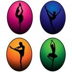 siluetas de bailarinas de ballet — Vector de stock