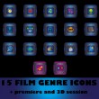 Film genre icons — Stock Vector