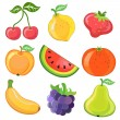 Stock Vector: Set of 9 cartoon fruits