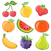 Set of 9 cartoon fruits — Stock Vector