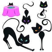 Set of funny black cats — Stock Vector
