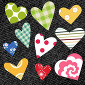 Textile hearts — Stock Vector