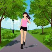 Running girl — Stock Vector