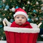 Baby boy in Santa hat in the red basket — Stock Photo #41091183