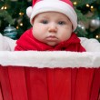 Baby boy in Santa hat in the red basket — Stock Photo #41091141