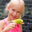 Stock Photo: Little girl with parakeet