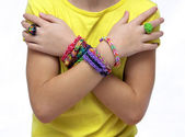 Girl with bracelets — Stock Photo