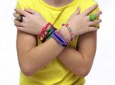 Girl with bracelets — Stock Photo
