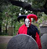 Scary Joker with skeleton face — Stock Photo