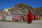 Mani stone in Tibet — Stock Photo