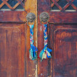 Tibetan wooden door — Stock Photo