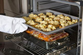 Crostini and casserole in the oven — Stock Photo