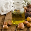 Argan oil and cosmetic product — Stock Photo