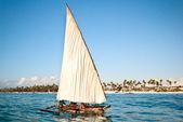 Fishermen boat sailing — Stock Photo