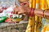 Varanasi, preparing morning offers — Stock Photo