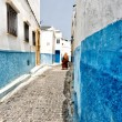 Veiled woman walking in a street of Rabat — Stock Photo