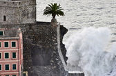 The castle of Camogli during a sea storm — Stock Photo