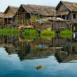 Stilt house in the Inlè Lake, Myanmar - Stock Photo