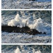 Sequence of three shots of a powerful waves - Stock Photo