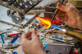Glass blower work — Stock Photo