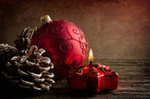 Red glass ball for Christmas — Stock Photo