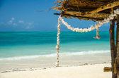 Corona de conchas tropicales blancos en una playa de arena — Foto de Stock