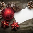 Christmas greeting card on wooden top — Stock Photo
