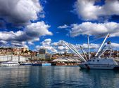 Genoa old harbour, Italy, Sky, sea, mediterranean, ship, landscape — Stock Photo