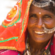 Portrait of a beautiful woman in jaisalmer — Stockfoto