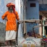 Varanasi, lonely Sadhu in the street — Stock Photo #36568923