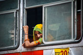 Jaipur, young woman on a bus — Stock Photo