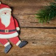 Santa claus decoration on wood — Stock Photo
