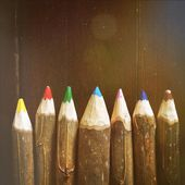 Colored pencils. Light leak, vintage, natural, retro, still life — Stock Photo