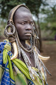 Unidentified woman from Mursi Tribe — Stockfoto