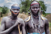 Portrait of two men from Mursi tribe — Stockfoto