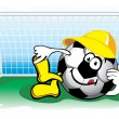 Stock Vector: Soccer ball in the goal. Vector.