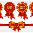 Red badges with ribbons - Stock Vector